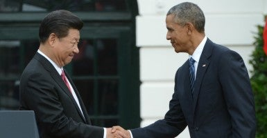 Chinese President Xi Jinping and U.S. President Barack Obama. (Photo: Pat Benic/UPI/Newscom)