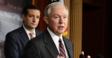 Sens. Ted Cruz, left, and Jeff Sessions want answers on terror suspects entering America.  (Photo: Michael Reynolds/EPA/Newscom)