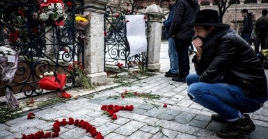 A memorial at the site where 10 tourists were killed by an ISIS suicide bomber on Jan. 12th in Istanbul, Turkey. (Photo: Jodi Hilton/ZUMA Press/Newscom)