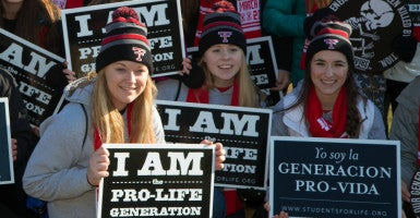 "Students from Trinity High School of Dickinson, N.D., were among the thousands of anti-abortion protestors rallying on the National Mall for the ""March for Life""  in Washington D.C. in  2015. (Photo: Jeff Malet Photography/Newscom)"