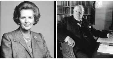 Two examples of leadership at the highest level can be seen through British Prime Ministers Winston Churchill and Margaret Thatcher. (Left Photo: Photoshot./Newscom /  Second Photo: Everett Collection/Newscom)