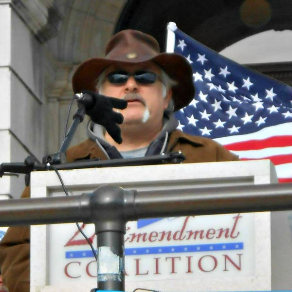 Mike Puyana, president of the Rhode Island Tea Party, at a rally in April 2009. (Photo courtesy Mike Puyana)