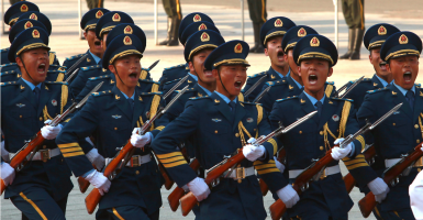 Chinese soldiers performing honor guard duties. (Photo:  Stephen Shaver/UPI/Newscom)