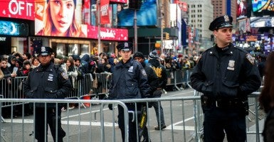 NYPD officers in Times Square on New Years Eve. (Photo: Richard B. Levine/Newscom)