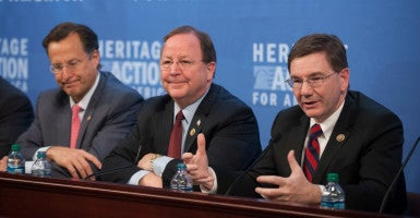 "Conservatives must ""win the debate of ideas this year,"" Rep. Keith Rothfus of Pennsylvania, right,  said at the 2016 Conservative Policy Summit. With him are Reps. Dave Brat of Virginia, left, and Bill Flores of Texas. (Photo: Willis Bretz/The Heritage Foundation)"