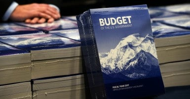 Copies of President Barack Obama's Fiscal Year 2017 Budget are displayed for members to pick up, in the Senate Budget Committee room. (Photo: Molly Riley/UPI/Newscom)