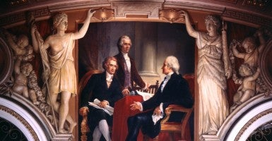 A painting of George Washington as president, Alexander Hamilton as secretary of treasury, and Thomas Jefferson as secretary of state, painted by Constantino Brumidi on the wall of the Senate reception room in the U.S. Capitol. (Photo: Picture History/Newscom)