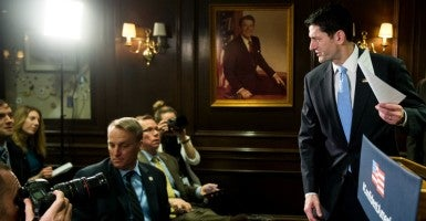 This morning House Speaker Paul Ryan tried to bring the GOP conference to a consensus on the ongoing budget battle inside the party. (Photo: Bill Clark/CQ Roll Call/Newscom)