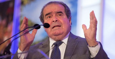 Republicans and Democrats are sniping over when to fill the Supreme Court seat of Justice Antonin Scalia, here  at a Heritage Foundation event in October 2015. (Photo: Jeff Malet for The Daily Signal)