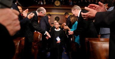 Ruth Bader Ginsburg leads fellow justices down the aisle of the House chamber before President Obama's address in January 2009. Since 1971, the average age of retirement for a Supreme Court justice has been 78.7. (Photo: Pablo Martinez Monsivais/Pool /EPA/Newscom)