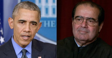 President Obama's decision to skip Justice Scalia's funeral shows a lack of bipartisanship. (Photo of Obama: Douliery Olivier/Sipa USA USA/Newscom; photo of Scalia: Pete Souza/KRT/Newscom)