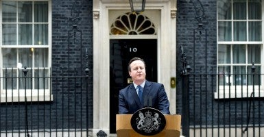 British Prime Minister David Cameron delivers a statement on the status of the UK and the European Union outside of No. 10 Downing Street, in London, Feb. 20. (Photo: Andy Rain/ EPA/Newscom)