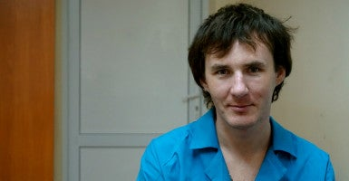 During 195 days of captivity, Vadym Krypychenko was allowed outside twice—at night and  for about two minutes, to smoke a cigarette. (Photo: Nolan Peterson/The Daily Signal)