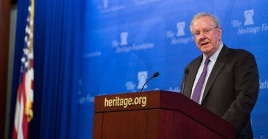 "Steve Forbes, author of ""Reviving America"" and publisher of the magazine that bears his name, speaks at The Heritage Foundation on Wednesday. (Photo: Willis Bretz for The Daily Signal)"