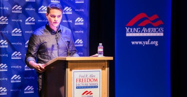 Conservative commentator Ben Shapiro talks about diversity despite a disruption when protesters at California State University, Los Angeles blocked entrances to the event in an attempt to shut it down. (Photo: Jacqueline Pilar/Young America's Foundation)