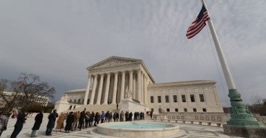 The United States Supreme Court Building in Washington D.C. on Friday, February 19, 2016. Justice Antonin Scalia is lying in repose inside the Supreme Court's Great Hall in the first of two days of public mourning over the late associate justice, who died unexpectedly last weekend. (Photo by Jeff Malet)