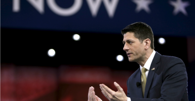 """""""We're trapping people in poverty by basically paying people not to work,"""" House Speaker Paul Ryan tells his audience at CPAC. (Photo: Gary Cameron/Reuters/Newscom"""