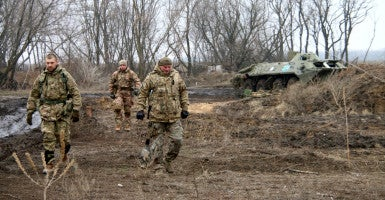 Soldiers at a front-line position, Granite, outside the Ukrainian-controlled town of Shchastya. (Photo: Nolan Peterson/The Daily Signal)