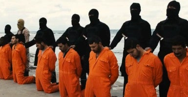A group of 21 Egyptian Christians, who were seized by ISIS fighters while working in Libya, shown in a video before they were purportedly killed. (Photo: News Pictures/Polaris /Newscom)