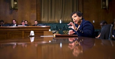 Attorney General Loretta Lynch testifies before the Senate Judiciary Committee hearing on oversight of the Justice Department on Capitol Hill on March 9th. (Photo: Shawn Thew/EPA/Newscom)