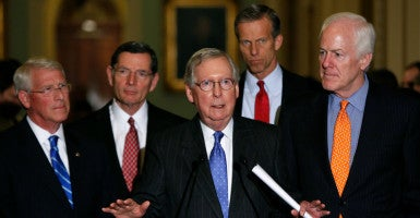 Senate Majority Leader Mitch McConnell, R-Ky., holds a news conference with fellow Republican leadership on possible Supreme Court nominations Feb. 23. (Photo: Gary Cameron /Reuters/Newscom)