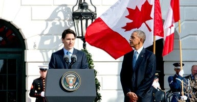 Prime Minister Justin Trudeau of Canada makes remarks at the White House on March 10th. (Photo: Ron Sachs/CNP / Polaris/Newscom)