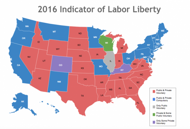 Right To Work States Map 2016.Where Does Your State Stand On Right To Work