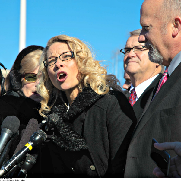 Rebecca Friedrichs outside the Supreme Court. (Photo: Newscom)
