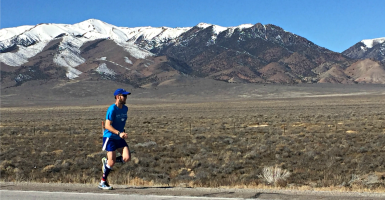 """""""The idea here is to put our faith into action"""": Pat Castle, here in Nevada last month, is one of thousands of """"LIFE Runners"""" drawing attention to the pro-life movement this Easter season. (Photo:  Jeff Grabosky)"""