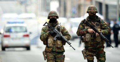 Security forces patrol after a series of terror attacks rocked Brussels, Belgium on March 22. (Photo: Federico Gambarini/dpa/picture-alliance/Newscom)
