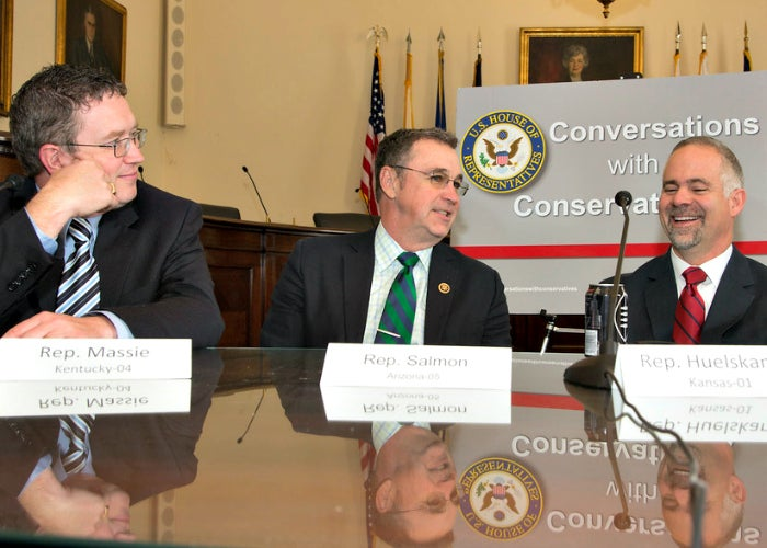 Questioning leadership on federal spending (from left): Reps. Thomas Massie, R-Ky., Matt Salmon. R-Ariz., and Tim Huelskamp. R-Kan. (Photo: Jeff Malet for The Daily Signal)