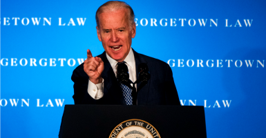 Vice President Joe Biden translates his 1992 remarks in pushing back against Republicans' blockade of President Obama's Supreme Court nominee, Merrick Garland. (Photo: Al Drago/CQ Roll Call/Newscom)