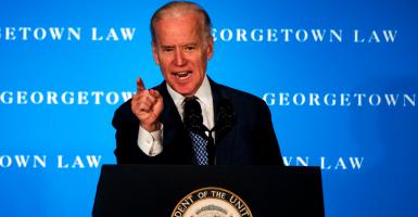 Vice President Joe Biden translates his 1992 remarks in pushing back against Republicans' blockade of President Obama's Supreme Court nominee, Merrick Garland. (Photo: Al Drago/CQ Roll Call/Newscom)