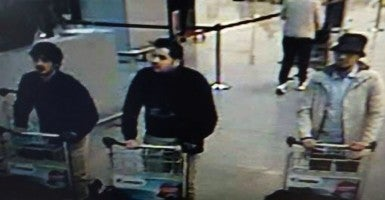 The three men suspected of being behind the attacks at Brussels airport. (Photo: Splash News/Newscom)