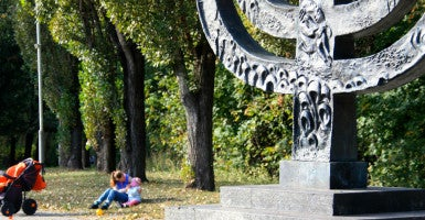 A giant menorah marks the spot where Nazis murdered about 50,000 Jews and 100,000 others at the Babi Yar ravine during World War II. (Photo: Nolan Peterson/The Daily Signal)