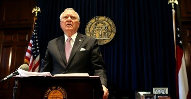 Georgia Governor Nathan Deal. The economic threats made by big businesses to get the government to do their bidding at the expense of the common good are examples of a vicious form of cultural cronyism. (Photo: CreditBob Andres/TNS/Newscom)