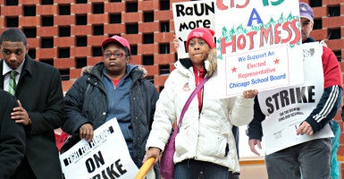 Teachers gather Friday to protest cuts at Chicago State University. (Photo: Dakota Sillyman/Zuma Press/Newscom)