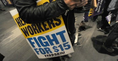 Union members gather for a victory rally after achieving a $15 minimum wage in New York. (Photo: Sam Simmonds /Polaris/Newscom)