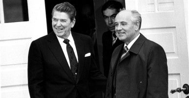 President Ronald Reagan, pictured with Soviet Leader Mikhail Gorbachev. (Photo: Mark Ellidgee and Bryn Colton NI Syndication/Newscom)