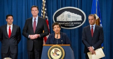 United States Attorney General Loretta E. Lynch and U.S. Attorney Preet Bharara of the Southern District of New York announce charges against seven individuals who were working on behalf of the Iranian government. (Photo: Ron Sachs/dpa/picture-alliance/Newscom)