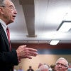 Sen. Chuck Grassley holds a town hall meeting March 28 at the public library in Rock Rapids, Iowa, where the issue of the Supreme Court vacancy came up. (Photo: Bill Clark/CQ Roll Call/Newscom)