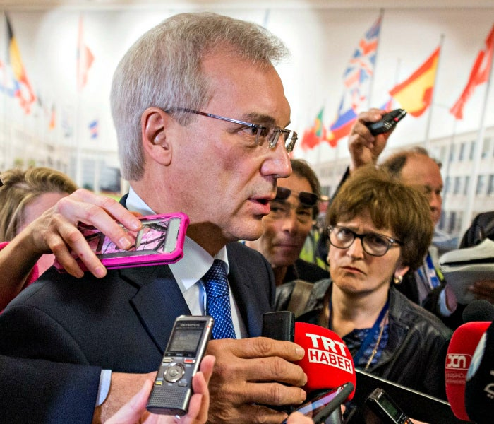 Alexander Grushko, Russia's ambassador to NATO, speaks to reporters after a meeting with NATO Secretary General Jens Stoltenberg at the alliance's headquarters in Brussels. (Photo: Stephanie Lecocq/EPA/Newscom)