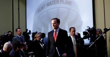 Michigan Attorney General Bill Schuette announces criminal charges in Flint Water Investigation. (Photo: Ryan Garza/Detroit Free Press/TNS/Newscom)