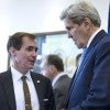 U.S. Secretary of State John Kerry speaking to State Department spokesman John Kirby. (Photo: Carlo Allegri/Reuters/Newscom)