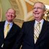 Senate Majority Leader Mitch McConnell, R-Ky., and Sen. Lamar Alexander, R-Tenn., speak with reporters in the U.S. Capitol. (Photo: Tom Williams/CQ Roll Call/Newscom)