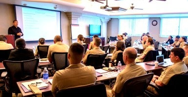 Judge Advocate Generals (JAG) stationed in the San Diego area attend a victim legal counsel training symposium at Naval Base San Diego.  (Photo: U.S. Navy photo taken by Mass Communication Specialist 3rd Class Eric Coffer/Released)