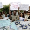 Pakistani human rights activists. (Photo: Jamil Ahmed Xinhua News Agency/Newscom)
