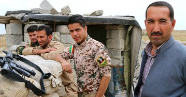 Despite two years of constant combat, and a Spartan way of living, morale among the peshmerga soldiers appears high. (Photo: Nolan Peterson/The Daily Signal)