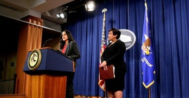 Attorney General Loretta E. Lynch and Principal Deputy Assistant Attorney General Vanita Gupta, head of the Civil Rights Division, announce Department of Justice action against the state of North Carolina. (Photo: Joshua Roberts/Reuters/Newscom)