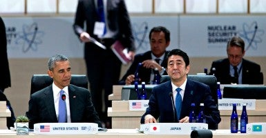 President Barack Obama with Japanese Prime Minister Shinzo Abe at the Nuclear Security Summit in Washington, D.C. (Photo:  Pool/Sipa USA/Newscom)